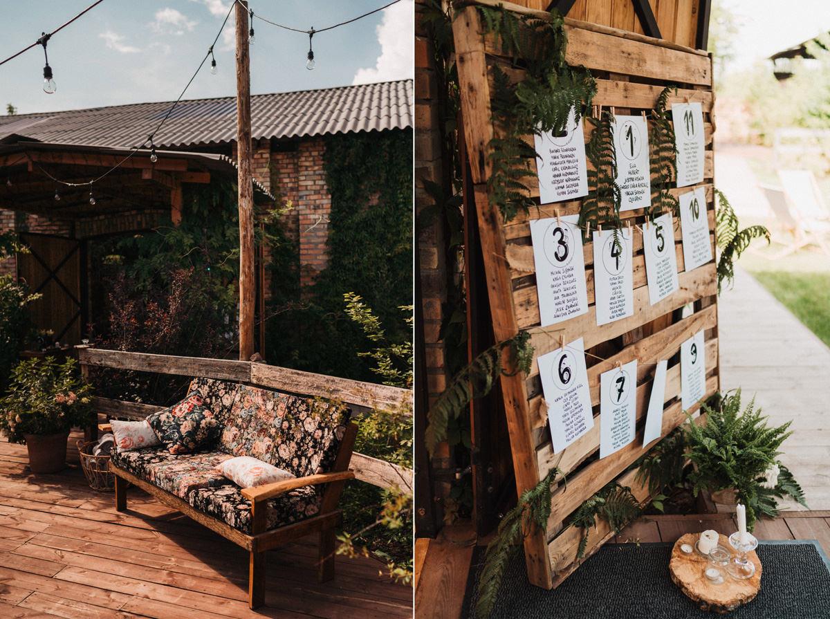 Cicha 23 - kanapa w kwiaty i rozpiska stołów weselnych